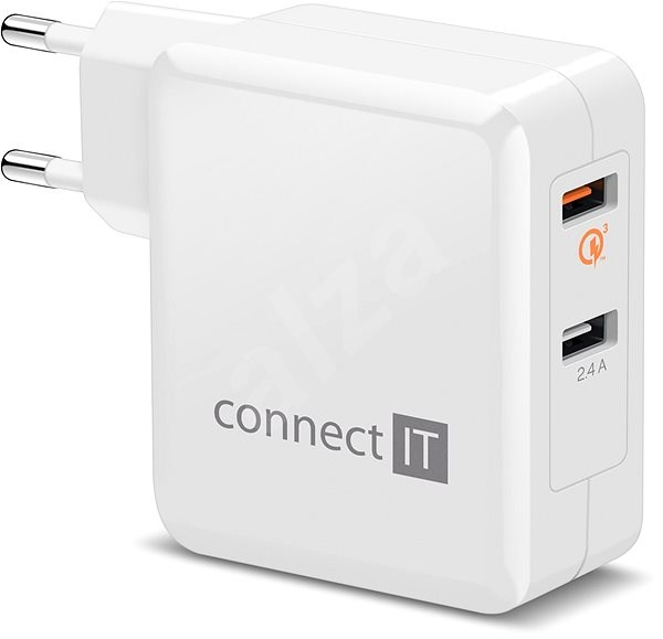 CONNECT IT 2×Wall Charger QUALCOMM QUICK CHARGE 3.0 White - Charger