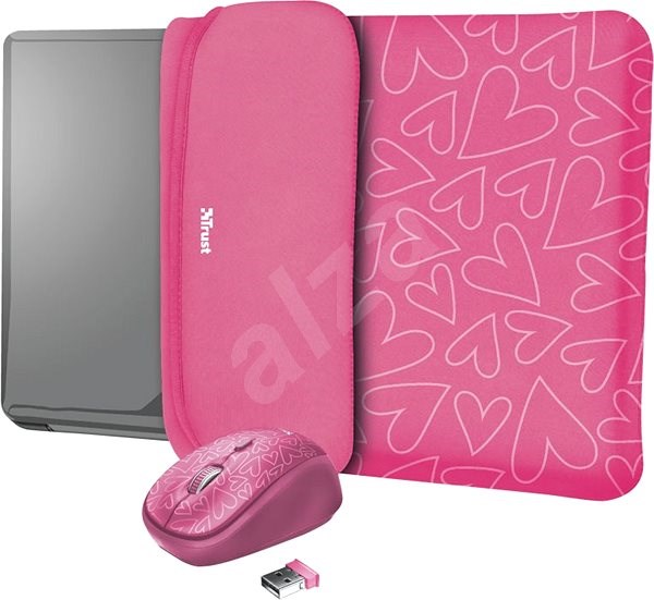 TRUST YVO MOUSE & SLEEVE F/15.6 – PINK - Laptop Case