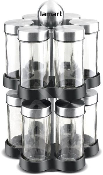 LAMART Spice Jar Set in Rack LT7044 STEEL - Spice Shaker