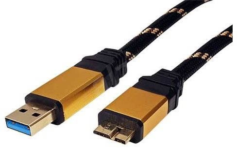 ROLINE Gold USB 3.0 SuperSpeed USB 3.0 A(M) -> micro USB 3.0 B(M), 0.8m - black/gold - Data cable