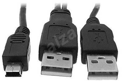 OEM 2 x USB A->MINI USB B, 5-pin, Y, power supply, 1m - Data cable