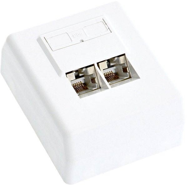 Datacom, CAT5E, STP, 2x RJ45, on a plaster - Socket