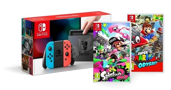 Nintendo Switch Neon Splatoon 2 Super Mario Odyssey