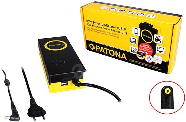 PATONA for laptops 19V/4.7A 90W 5.5x1.7mm connector + USB output - Adapter