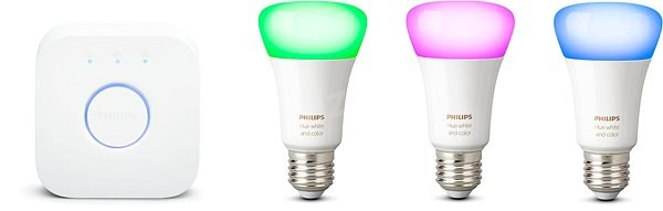 Philips Hue White and Color Ambiance 9W E27 Promo Starter Kit - Smart Lighting Set
