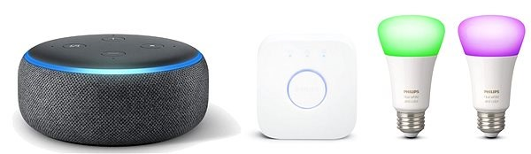 Philips Hue White and Color Ambiance 2pack Starter Kit + Amazon Echo Dot 3.gen Charcoal - Smart Lighting Set