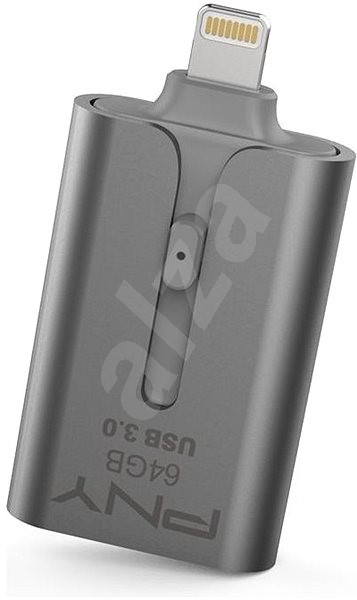 PNY Duo-Link On-the-Go 64GB USB 3.0 For Apple iPad//iPhone Flash Drive Silver