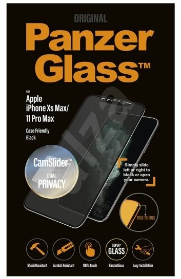 PanzerGlass Edge-to-Edge Privacy for Apple iPhone XS Max/11 Pro Max Black with CamSlider - Glass protector