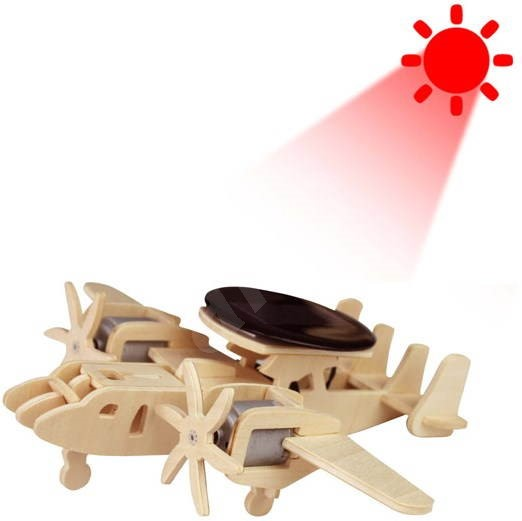 Wooden 3D Puzzle - Military solar aircraft with radar  - Puzzle