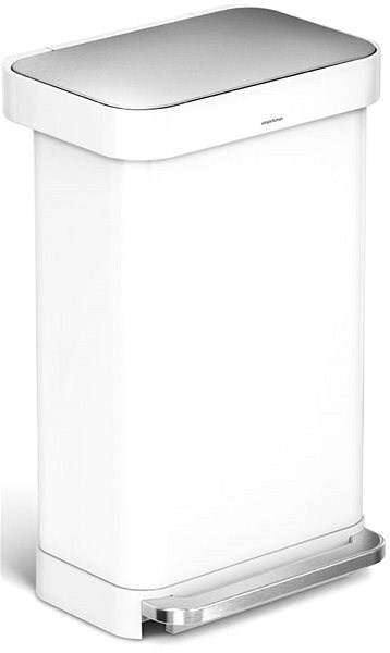 Simplehuman 45l, Pedal, Rectangular, White Steel - Waste Bin