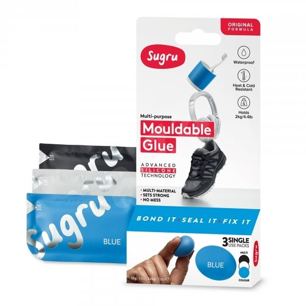 Sugru Moldable Glue 3-Pack - Black, White, Blue - Glue