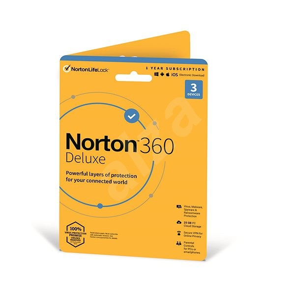 Norton 360 Deluxe 25GB CZ, 1 user, 3 devices, 12 months (Electronic Licence) - Internet Security