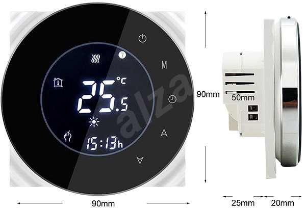 iQtech SmartLife GBLW-B, WiFi Thermostat for Floor Heating, Black - Thermostat