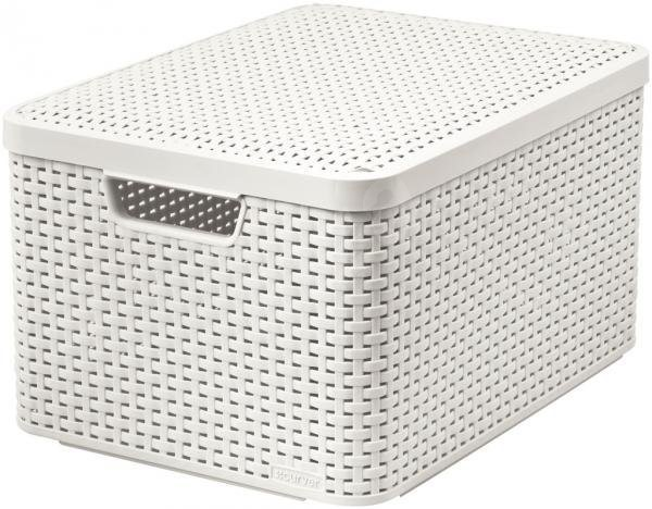 curver style box with lid l cream storage box. Black Bedroom Furniture Sets. Home Design Ideas