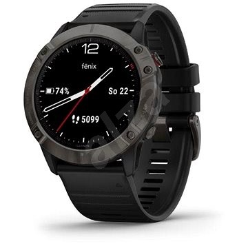 Garmin Fenix 6X Sapphire, Grey/Black Band (MAP/Music) - Smartwatch